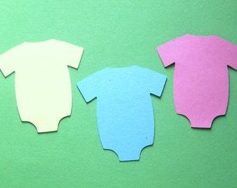 48 pastel 2 inch multi color baby onsie die cuts