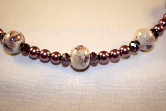 "Mauve 22"" beaded necklace"