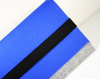 A Strapping blue and grey iPad mini sleeve case - 100% merino wool felt 3mm thick