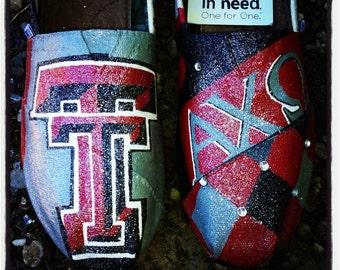 TExas tech Custom Painted Toms.