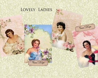 Lovely Ladies -Digital Collage Sheet - Set of 8 Atc Cards - Digital Scrapbooking - Instant Download