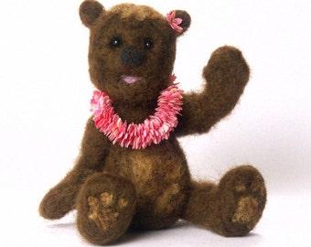 Brown Needle-Felted Minature Teddy with Hawaiian Lei