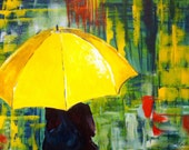 Girl with a Yellow Umbrella - Acrylic Print - theLovelyBirdCage