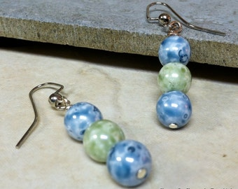 Blue and green speckled bead earrings