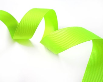 1 YRD of Neon Green Yellow  Solid Trim Ribbon 0.7 '' for Crafts, Sewing , Accessories Special ribbon for gift box