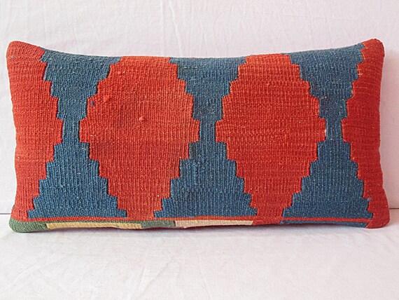 12x24 Handwoven Kilim Lumbar Pillow Turkish Lumbar Pillow throw pillow kilim pillow cover decorative bolster pillow tribal large ethnic wool