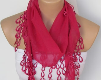 ON SALE - Fuchsia Long Scarf With Fringe-Winter Fashion Scarf-Headband-Necklace- Infinity Scarf- Winter Accessory-Long Scarf