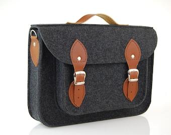 Felt Macbook 11 inch satchel, Laptop bag, sleeve, Macbook Air 11 inch, Casual bag, Shoulder bag with leather straps