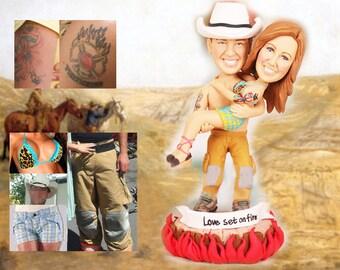 Personalised wedding cake topper - Cow boy wedding (Free shipping)