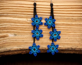 Mexican Huichol Beaded Earrings Florecitas