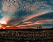 Sunset on the Farm, Panorama of full sky, beautiful colors depicting the dusk scene, made to order