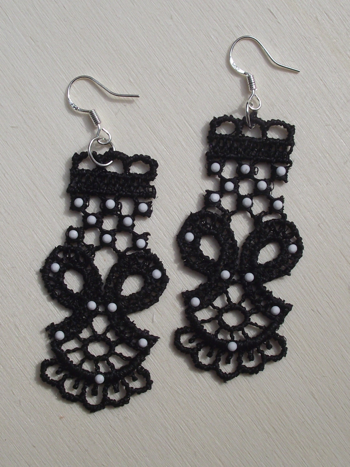 Black Lace Earrings BiwisLab on Etsy