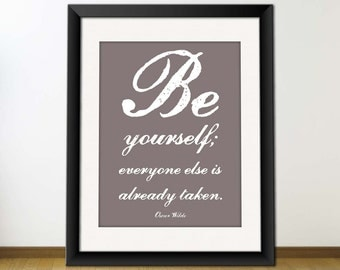 Inspirational Quote Art, Digital Printable JPEG Image - Be Yourself