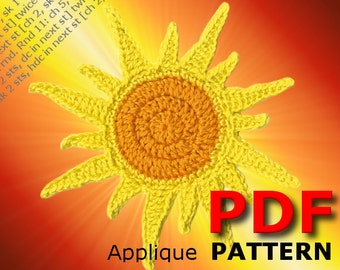 Crochet | Crochet pattern | Applique Pattern | Crochet SUN