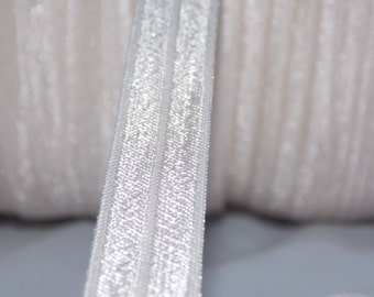 """10 Yards ANTIQUE WHITE Fold Over Elastic Foe 5/8"""" Emi Jay Inspired Material DIY Hair Ties & Headbands Soft Stretchy No Pull Fabric"""