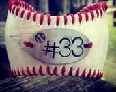 Baseball Bracelet with Handstamp of jersey number