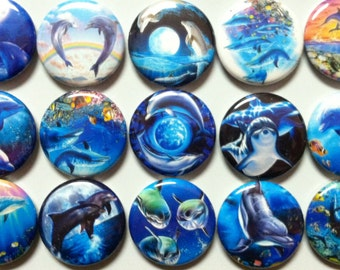 "Dolphins 1"" Flatback buttons, crafts bottle caps"