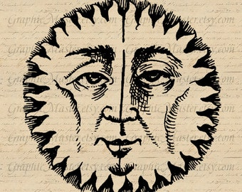 Sun Face Vintage Digital Collage Sheet Image Instant Download Iron On Transfers Prints Tote Bags Pillows Jpeg Png Pdf Paper Crafts A247