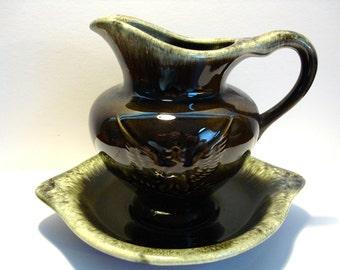 Vintage Hull Pitcher & Gravy Bowl - Hull Drip Glaze Pottery - Hull Green Pottery