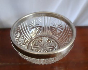 Silver Rimmed Glass Bowl