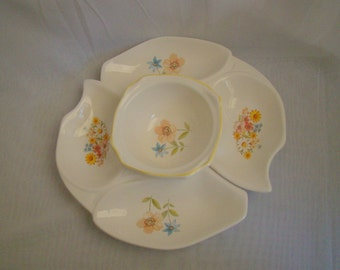 Vintage California Originals Pottery Retro Floral 3 Piece Relish and Dip Set 1033-1032 USA