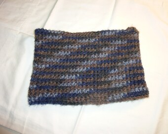 Cozy Crocheted Cowl in Blues and Browns