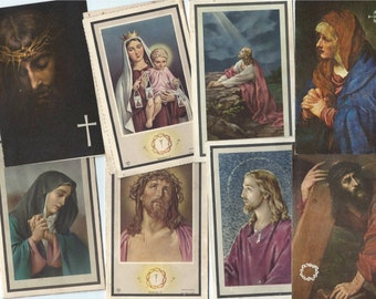 Vintage Religious Cards - Religious Saints- Holy Cards - Set of 4