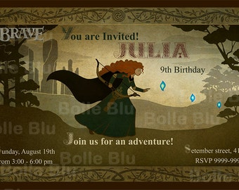 Brave Princess Merida Invitation Digital  Party Printable Birthday DIY Carpet