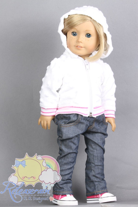 "Releaserain Doll Clothes Outfit White Raised Dots Faux Fur Hoodie Zip Up Jacket for 18"" American Girl dolls"