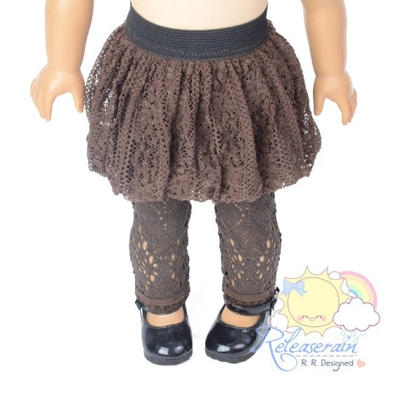 "Black Elastic Banded Waist Brown Lace Crochet Rib Fabric Lining Bubble Skirt Doll Clothes Outfit for 18"" American Girl dolls"