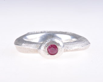 Cuttlefish cast silver and ruby ring