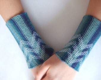 BEADED wrist warmers. Handmade knitted blue wool with white true glass beads.