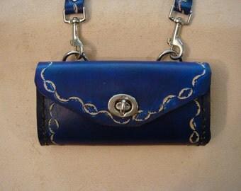 Tara Tooled Blue Leather Crossbody Bag - Small Purse - Handbag - Wavy Crescent