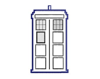 Buy3Get1 FREE - Machine Embroidery Tardis, Doctor Who Tardis Applique - INSTANT DOWNLOAD