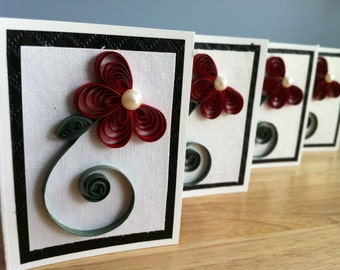 Set of 4 mini quilled cards