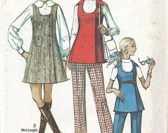 1970s Misses' or Teen's Jumper and Tunic and Pants Pattern, Simplicity 8916, Size 10, Bust 32.5