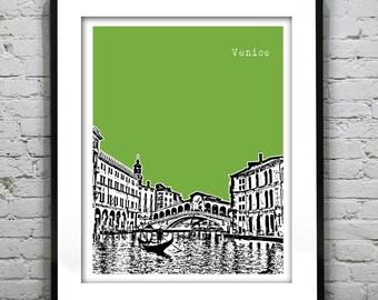 Venice Poster Rialto Bridge Italy Art Print Skyline