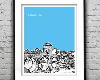 Monmouth Poster Monmouthshire Wales United Kingdom Art Print Skyline
