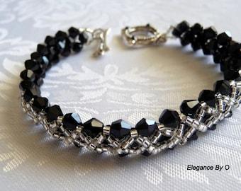 Crystal Reversible Bracelet-  Woven Crystal Bracelet -Black and white bracelet-black beaded bracelet
