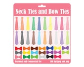 INSTANT DOWNLOAD Neck Ties and Bow Ties Design Elements Digital Scrapbook and Clipart
