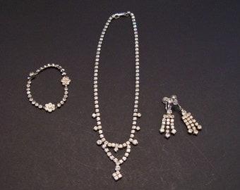 Rhinestone necklace, bracelet and earring set