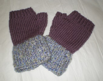Warm , Soft ,Knitted Fingerless Woman Gloves, purple with multi-colors, 1 size fits all