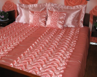 """Queen Bedspread with two pillows covers- smocked - pink - rose - handmade - Coverlet -Quilt - 210 cm x 240 cm (83"""" x 94"""")"""
