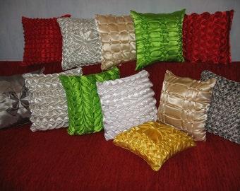 "Green - smocked - handmade - throw pillow - cushion - cover - 38 cm x 38 cm (15"" x 15"")"