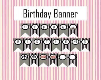 Paris Birthday Banner