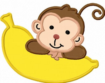 Monkey With Banana Applique Machine Embroidery Design NO:0019