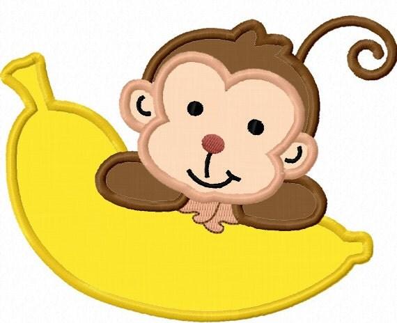 Monkey With Banana Applique Machine Embroidery Design No0019