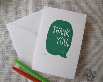 Talk Bubble Thank You Note in Emerald