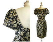 SALE 60s Vintage Dress / MR BLACKWELL1960s Vintage Bombshell Wiggle Hourglass Dress in Black Gold and Silver Metallic Brocade