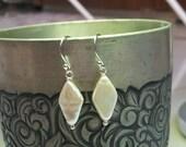 Modern pearl earrings- diamond shaped on sterling silver